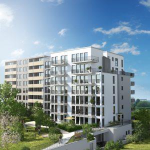 Neues Wohnen Rhein-Main Beratungsstelle_Aussenanlage-Wohngebäude-Frankfurt